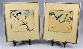 Okuhara Seiko (1837-1913) Pair Woodblock Prints