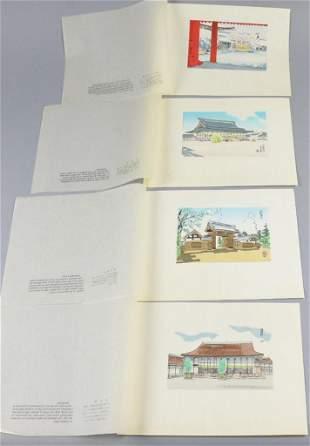 c1940 Japanese Kyoto-Gosho Woodcut Prints
