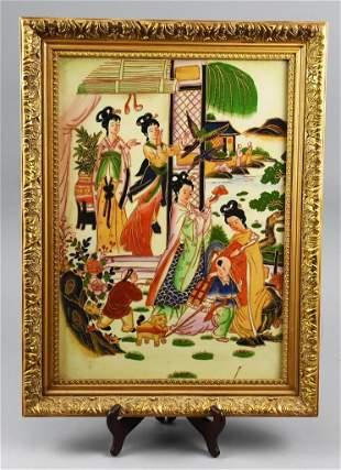Vintage Chinese Hand Painted Porcelain Tile-Framed