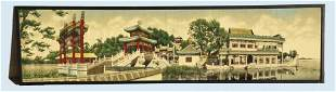 Vintage Woven Silk Chinese Temple