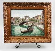 Antique Italian Micro Mosaic Plaque Rialto Bridge