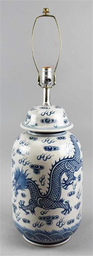 VTG Chinese Porcelain Blue & White Dragon Lamp