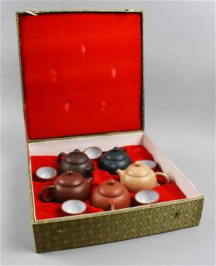 Vintage Individual Zisha Tea Set, Original Box