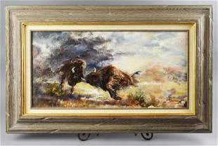 Rich Pelletreau On Canvas painting Charing of the Bulls