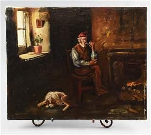 c1945 M. Nisson, Flemish Oil on Canvas Appraisal