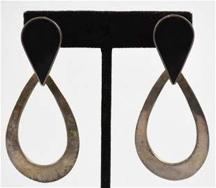 Taxco Sterling Onyx Earrings