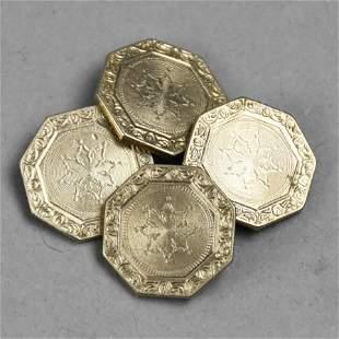 Belais White Gold Front, 14kt Gold Cufflinks Victorian