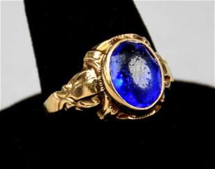 Antique Victorian 10K, Blue Stone Ring