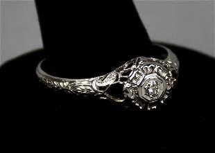 Art Deco 18K White Gold & Diamond Engage Ring