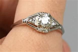 Art Deco 18K White Gold Diamond Engage Ring