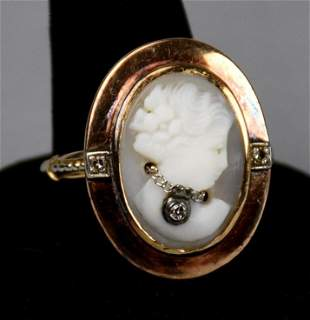 Victorian 14K Gold Cameo Ring w/ Diamond