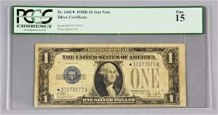 Graded Fine 15, $1 1 Star 1928 Silver Certificate PCGS