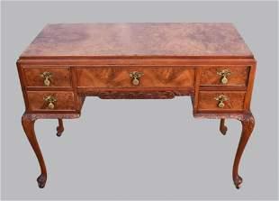 Antique Louis XV Style Burled Walnut Desk