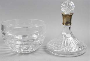 Irish Silver Ltd Sterling Crystal Decanter/Crystal Bowl