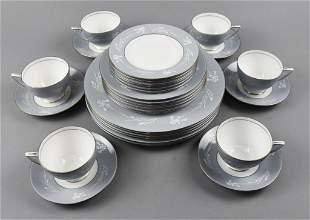 "Minton ""Grey Cameo"" Porcelain Dessert Service"