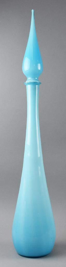 Mid Century Modern Glass Bottle w/ Stopper Italian
