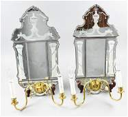 Art Deco Electrified Wall Sconces Etched Glass Mirrors