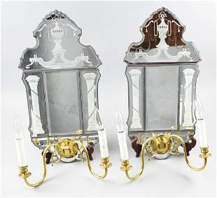 Pair of Electrified Wall Sconces, Etched Glass Mirrors