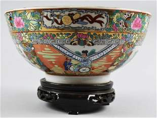 Antique Chinese Famille Rose Bowl with Stand Signed