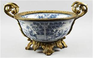 Chinese Porcelain and Gilt Brass Bowl