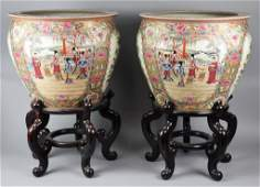 Pair of Large Chinese Famille Rose Porcelain Fish Bowls