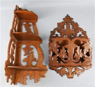 Antique Carved Walnut Corner/Magazine