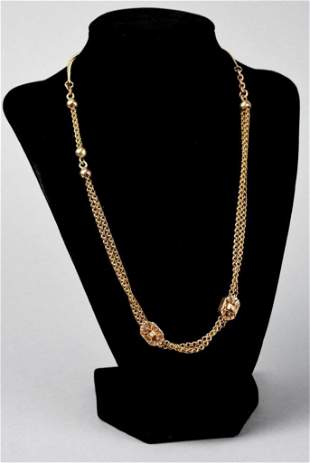Victorian 10K Gold/Pearl Watch/Slide Chain
