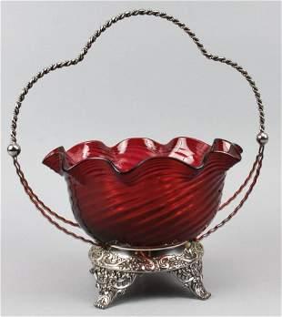 c1890 Superior Silver Plate Co, Bride Basket, Ruby