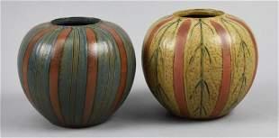 PAIR Mid Century Globe Vases