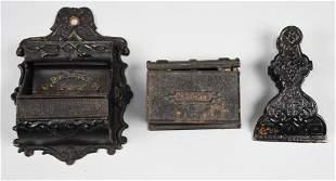 (3) Antique Cast Iron Match Holders & Bill Clip