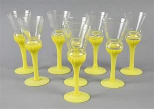 (8) Vintage Opaque Yellow Stem Cordials