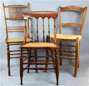 (3) Antique Rush Seat Accent Chairs, Stick Victorian
