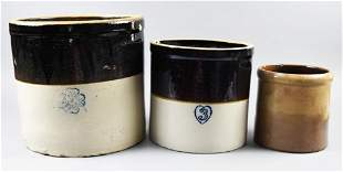 (3) Stoneware Crocks, Burley/Winter. Miller Pottery