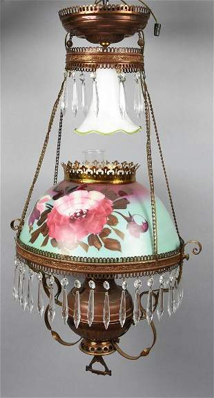 Victorian Hanging Light Fixture, Painted Shade