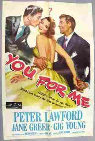 1952 You For Me, One Sheet Movie Poster Peter Lawford