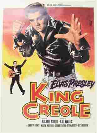 """1986 """"King Creole"""" Elvis One Sheet Movie Poster"""