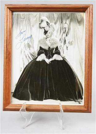 Signed & Framed Lucy Lucille Ball Photo