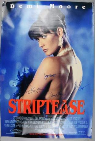 Striptease Movie Poster, Signed, Reynolds, Moore, More