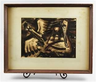 Robert E. Woods Painting Pelicans Mid Century