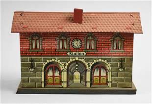 c1920 Tin Litho Fandor Tin Scale Train Station