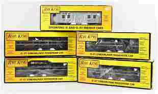 (5) Rail King, MTH O-27 Train Cars, Original Boxes