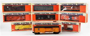 (9) Lionel O Gauge Boxed Train Cars