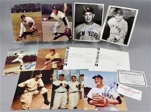 7 Signed NY Yankees Photos, Rizzuto, Slaughter, Etc.