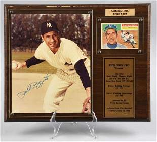 Phil Rizzuto Signed Photo, 1956 Topps Card