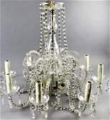 Hollywood Regency 8 Arm Cut Crystal Chandelier