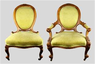 2 Carved Victorian Balloon Back Side Chairs Lime Green