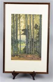 """Woodblock """"Takebayashi"""" Hiroshi Yoshida"""