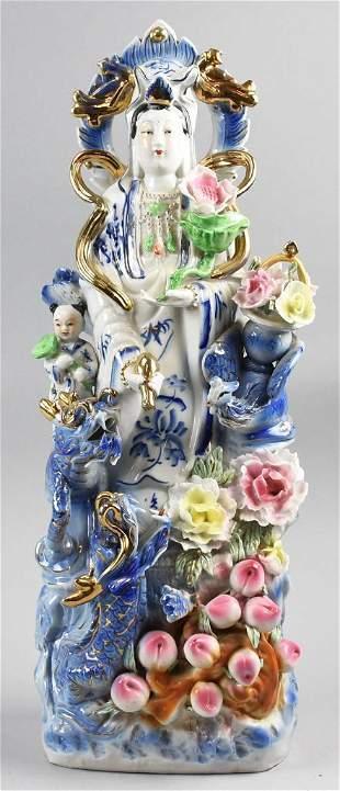 Large Porcelain Quan Yin Figural Group