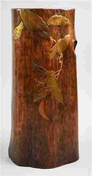Japanese Meiji Wood Ikebana Vase