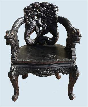 Antique Meiji Japanese Import Carved Dragon Chair
